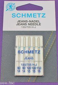 5 Schmetz Jeans 130//705 H-J Nähmaschine Nadeln Flachkolben Dicken 110//18