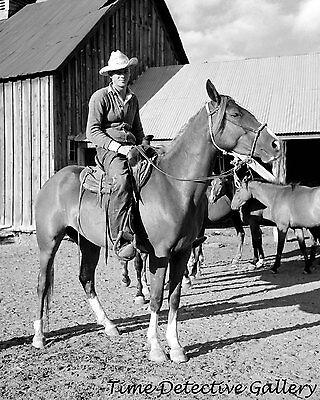 Cowboy at Quarter Circle U Ranch, Birney, Montana - 1941 - Historic Photo Print