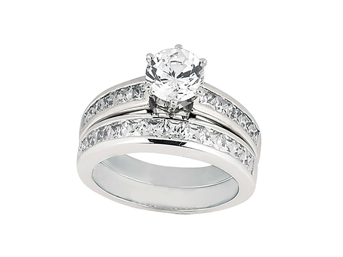 Natural 2.00Ct Round Princess Diamond Channel Engagement Ring Set 10k gold
