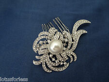 Beautiful Vintage Style Diamante Hair Comb slide with Large Faux Pearl 8 cms