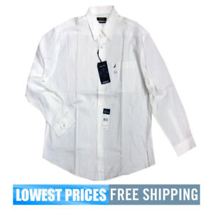 Nautica-Men-039-s-NWT-16H-32-33-All-White-Cotton-Button-Down-Long-Sleeve-Shirt-F-S