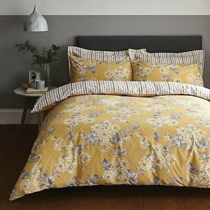Dunelm-Ashbourne-Ochre-Reversible-Duvet-Cover-and-Pillowcase-Set-Single-A
