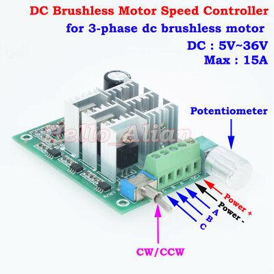 DC 5V 12V 24V 3-Phase Brushless Motor Controller Driver CW CCW Reversible Switch