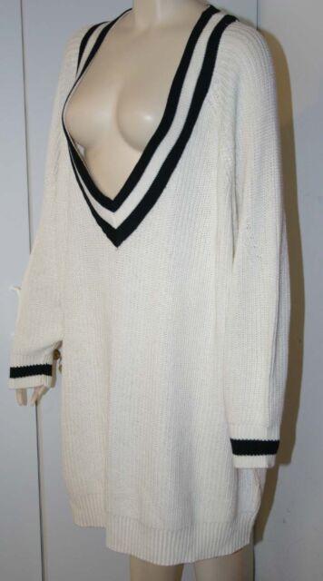 H M Womens Sweater Dress White Black Tunic V Neck Long Sleeve