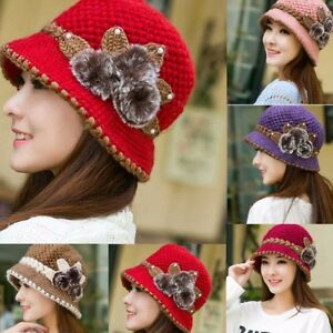 Ladies-Women-Winter-Warm-Crochet-Knitted-Ski-Cap-Flowers-Decorated-Ears-Hat-Cap