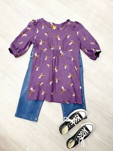 JOULES-Purple-Pheasant-Print-Tunic-Long-Top-Side-Zip-Size-10-casual-blogger