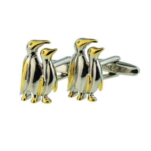 En dos tonos oro y plata pingüinos Gemelos presentado en una caja X2AJ587