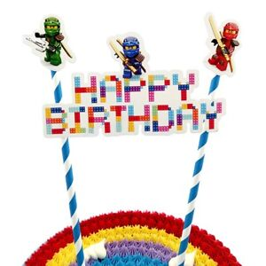 Image Is Loading Lego Ninjago Happy Birthday Cake Topper