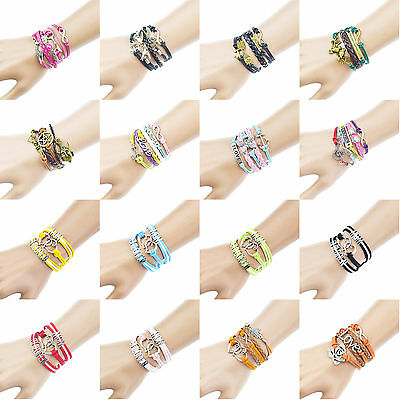 Handmade Charm Love Heart Believe Infinity Anchor Fatima Owl Women Girl Bracelet