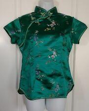 Green Silk Like Shirt Traditional Asian Japanese Kimono Blouse Top Costume 38