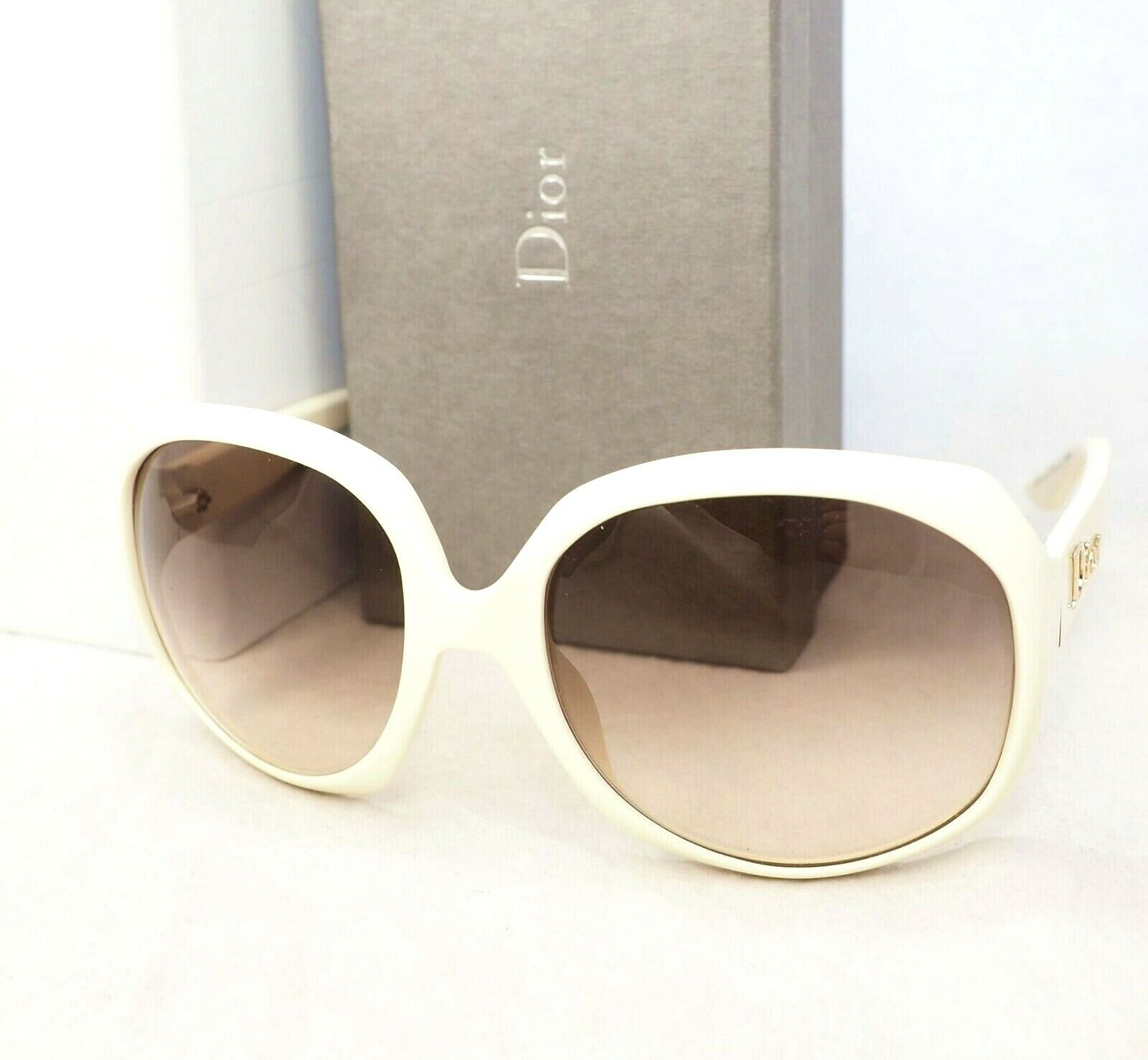 CHRISTIAN DIOR sunglasses glossy 1 white gold oversize butterfly women