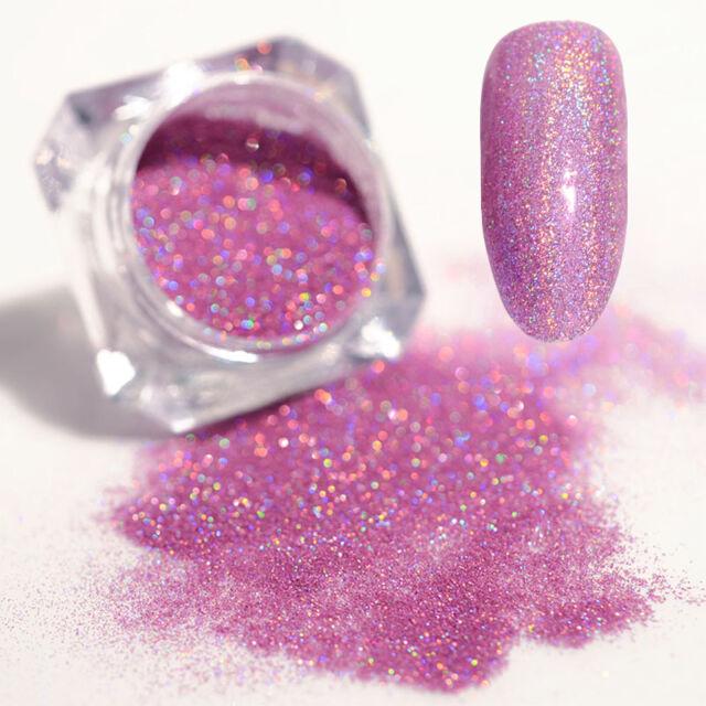 Holographic Holo Laser Powder Dust Shining Nail Art Glitter Tips Light Purple