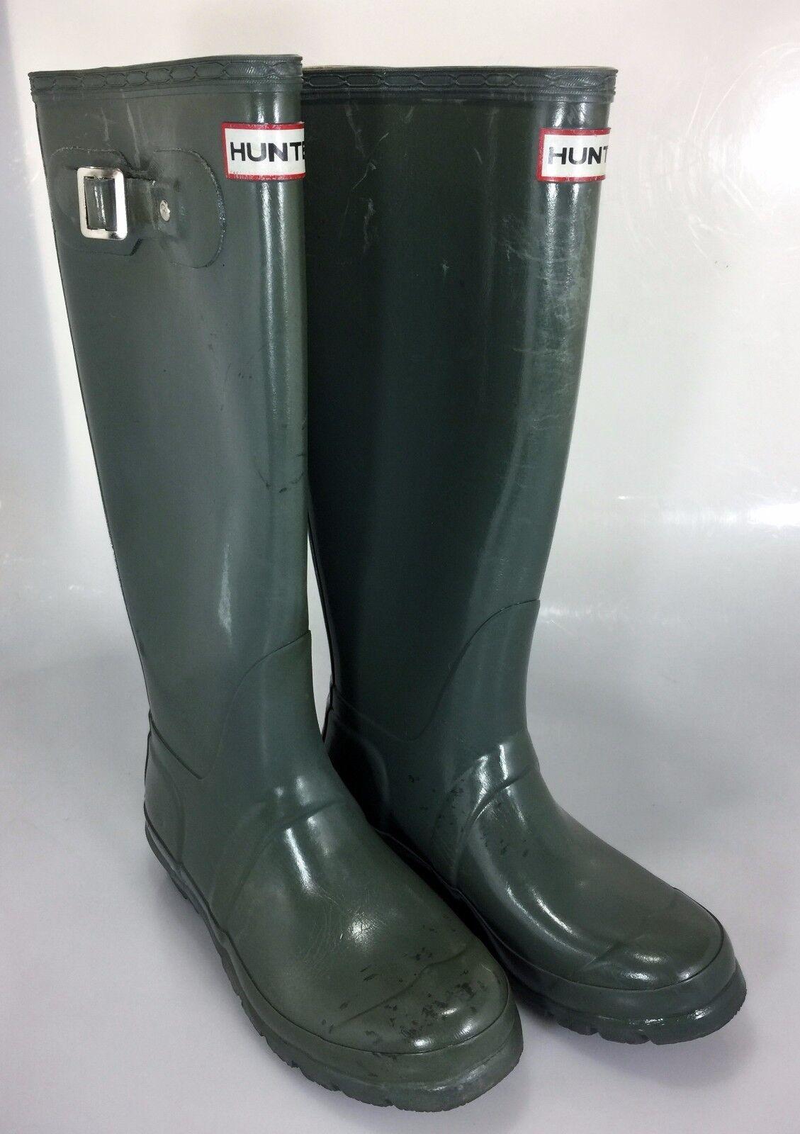 Hunter Damenschuhe 6 Green Glossw Rubber Wellies Rain Stiefel Tall Original 37EU 4UK
