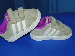 timeless design b2676 8778f Image is loading ADIDAS-NEO-INFANT-BASELINE-GRAY-PURPLE-LEATHER-SUEDE-