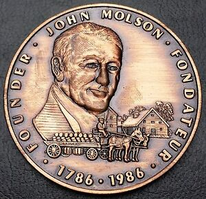 1786-1986-Founder-John-Molson-Brewers-for-200-Years-Brasseurs-Boxed-Medal-RARE