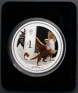 2013-Tuvalu-1-oz-999-Silver-Griffin-Proof-Coin-Perth-5000-Mintage-W-amp-M-Mascot