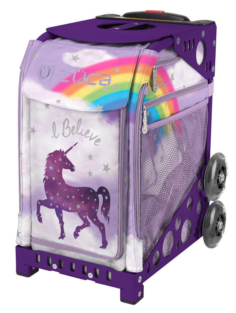 ZUCA  Bag UNICORN 2 Insert & Purple Frame w Flashing Wheels - FREE SEAT CUSHION  convenient