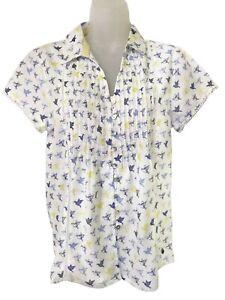 Brillant Nouveau Ex White Stuff Femmes En Coton Blanc Imprimé Oiseaux Chemise Tailles 8-18 Rrp: £ 37.50-afficher Le Titre D'origine