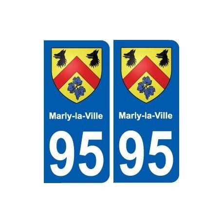 95 Marly-la-Ville blason autocollant plaque stickers ville -  Angles : arrondis