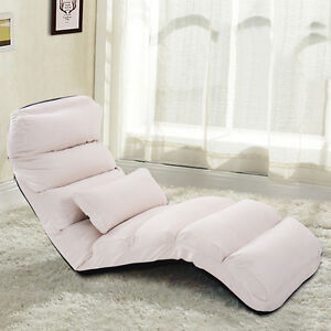 Image is loading Beige-Folding-Lazy-Sofa-Chair-Stylish-Sofa-Couch-