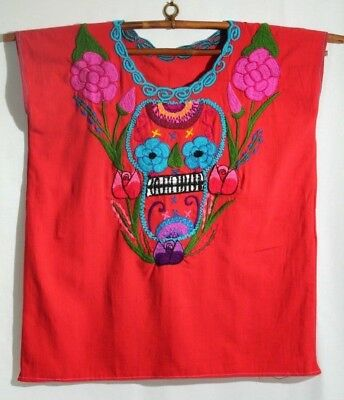 SALE Vintage Navajo Blouse Boho Southwestern Ethnic Mexican Guatemalan Petite size XXs XS Embroidered Blouse Cotton Blouse