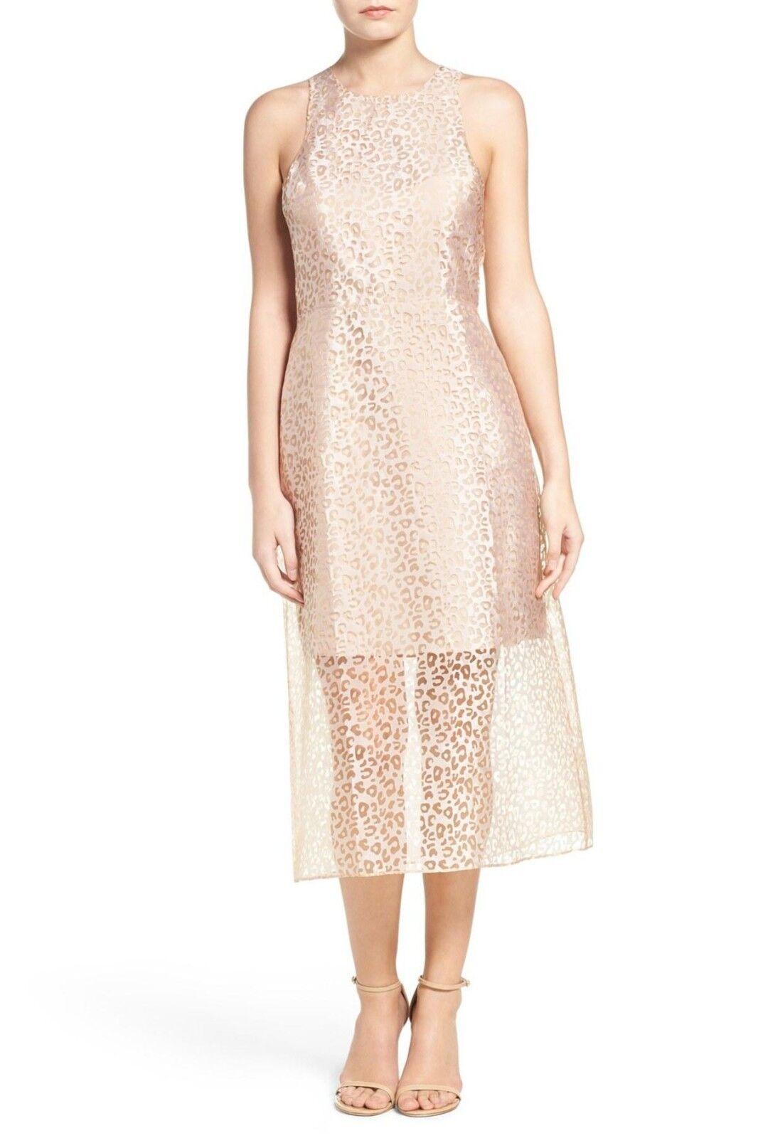 Ali & Jay Nude Beige Leopard Print Sheet Midi Sleeveless Dress Sz Medium NWT