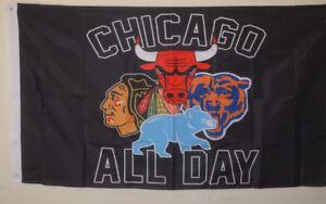 Chicago-Fans-All-days-Bears-Blackhawks-Cubs-Bulls-Flag-Deluxe-Banner-3-039-x5-039-Feet