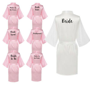 Women-Satin-Silk-Wedding-Bath-Robe-Bridesmaid-Bride-Party-Maid-Of-Honor-Gown