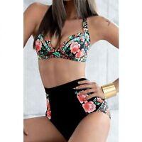 New Ladies High Waist Bikini Swimsuit Floral Halter Vintage Black 8 10 12 14 16