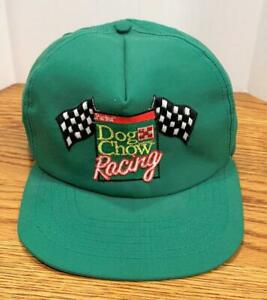 Vintage-Purina-Dog-Chow-Racing-Green-Trucker-Snapback-Hat-Cap-Made-in-USA