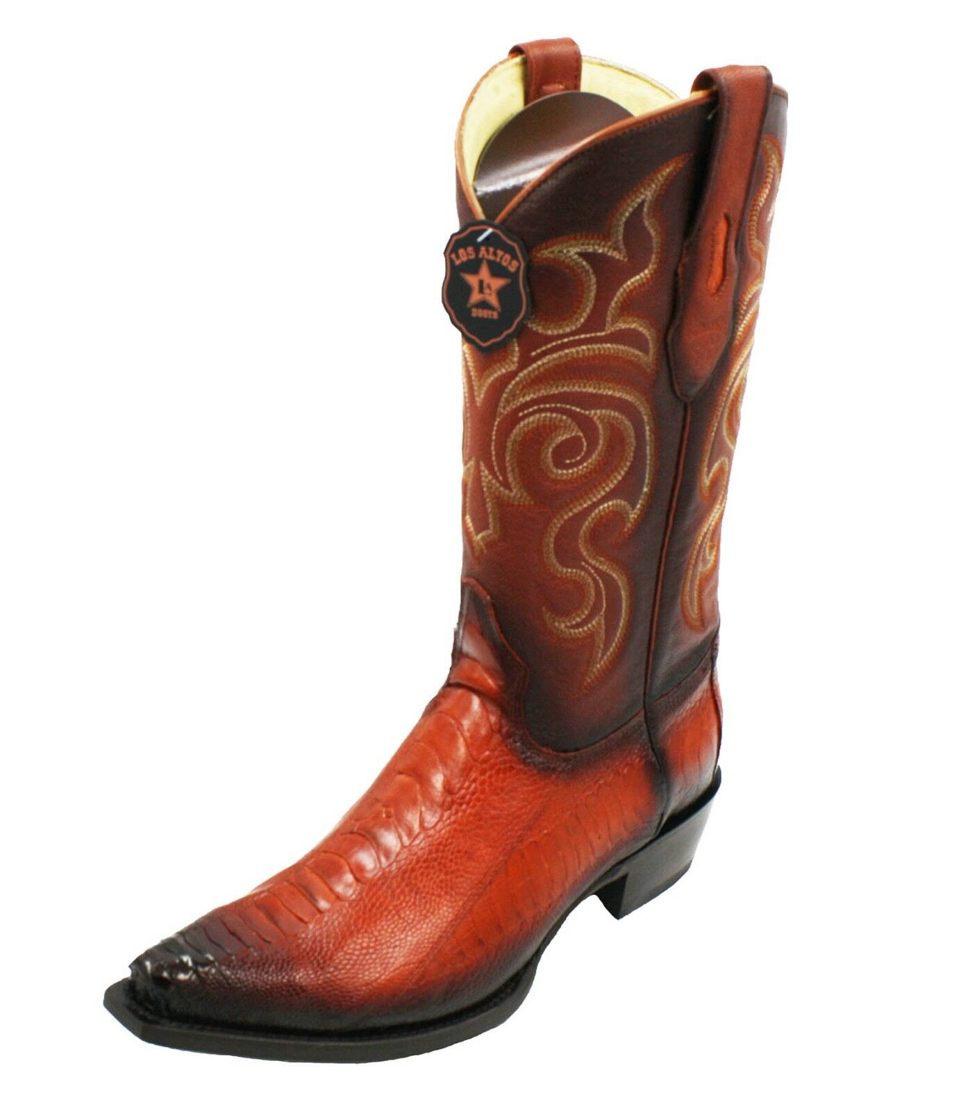 Men's Genuine Ostrich Leg skin Los Altos cowboy boots western exotic Snip Toe
