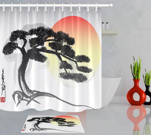 Bathroom Shower Curtain Liner Oriental Bonsai Tree Waterproof Fabric Hooks 180cm