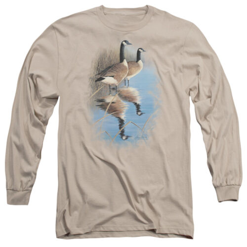 Wild Wings Wildlife MORNING REFLECTIONS CANADA GEESE Long Sleeve T-Shirt S-3XL
