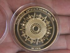 Maya Calendar Gold Plated Coin Souvenir mayan aztec badge pin mexico gift