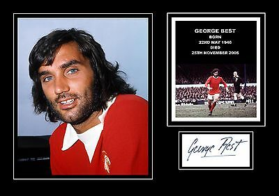 STUNNING QUALITY GEORGE BEST SIGNED AUTOGRAPHED PRINT