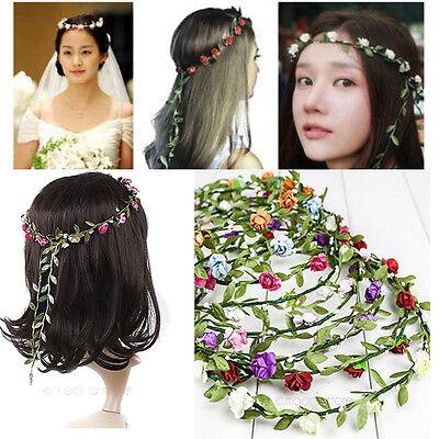 Haarband Blumen Kranz Blüten Rosen geflochten Haarschmuck Stirnband Haarreif NEU
