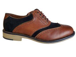 Mens Johnston Murphy Spectator Brogue Wingtip Brown Blue Sheepskin Shoes Sz 8 M