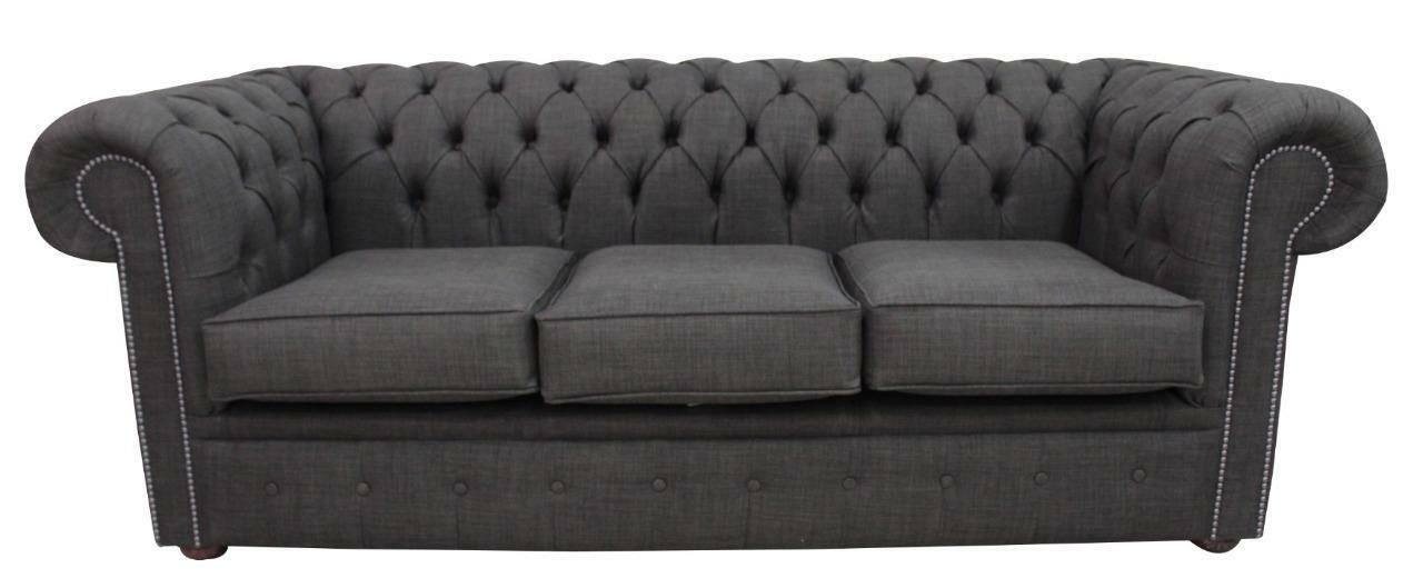 Charles Linen Charcoal Grey Sofa Settee