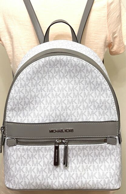 Michael Kors Kenly Bright White Signature PVC Leather Medium Backpack