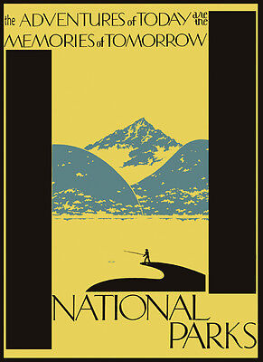 USA American National Parks Fishing Travel Tourism Vintage Poster Repro FREE S//H
