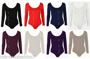 Womens-Long-Sleeve-Bodysuit-Stretch-Ladies-Leotard-Body-Top-Tshirt-8-14
