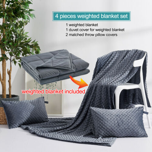 """4PC Weighted Blanket with Cover Minky Dot 15//20//25lbs 48/""""x72/""""//60/""""x80/"""" Dark Grey"""