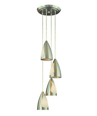 Hampton Bay Staggered 4-Light Brushed Nickel Pendant Chandelier 525555 - New