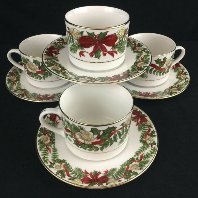Set of 4 Cups and Saucers by American Atelier Santa Holly and Berries Christmas