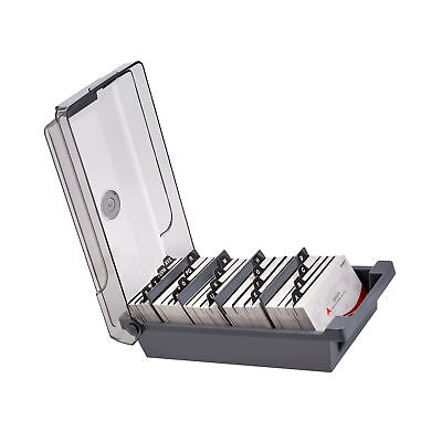 with 4 Divider Boad Covered Business Card File Holder Organizer Box Case
