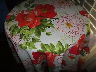 """LIFESTYLES BLOSSOMS BIG FLORAL RED PINK CORAL CREAM 70"""" ROUND TABLECLOTH 4-6"""