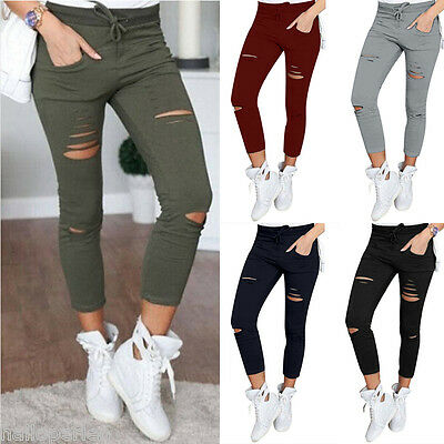 Women's Slim High Waist Denim Pants Skinny Ripped Stretch Jeans Pencil Trousers