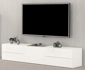 Nancy Porta Tv Contenitore 1 Anta 4 Cassetti Bianco Lucido Ebay