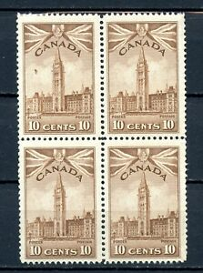 Canada MNH #257  Block of 4 Parliament Buildings 1942 War Issue K348