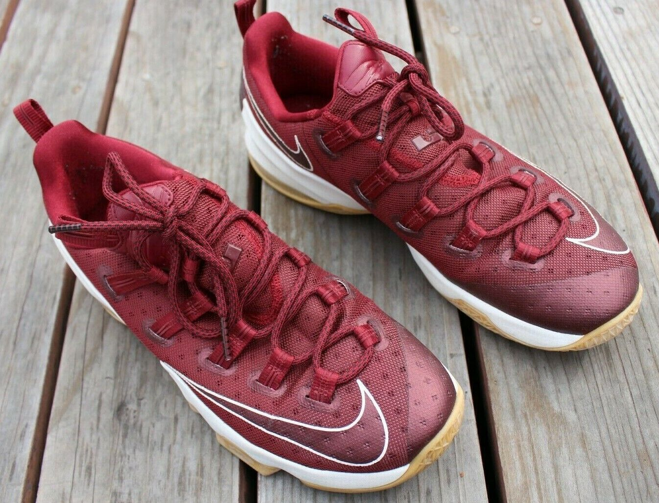 NIKE LEBRON XIII 13 LOW TEAM RED BURGUNDY MAROON SAIL WHITE 831925-610 SIZE 12